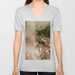 Steamy Volcano Outlet in Costa Rica Unisex V-Neck