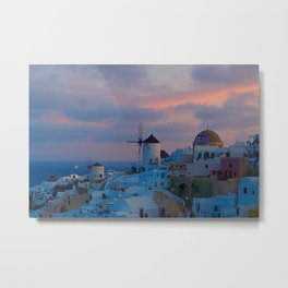 Santorini, Oia Greece, Windmill Sunrise Metal Print