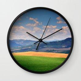 Tuscany rural sunset landscape. Wall Clock