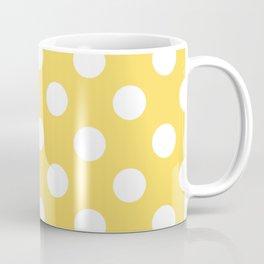 Naples yellow - yellow - White Polka Dots - Pois Pattern Coffee Mug