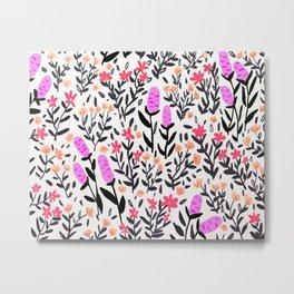 wild flowers hand draw floral pattern Metal Print