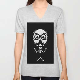 old skinny skull and bone with glasses in black and white Unisex V-Neck