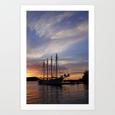 Schooner at sun rise Art Print