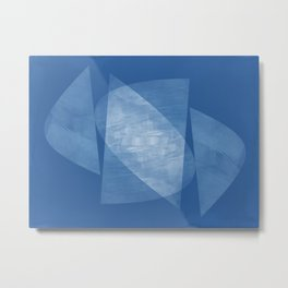 Blue Geometric Abstract Mid Century Modern Metal Print