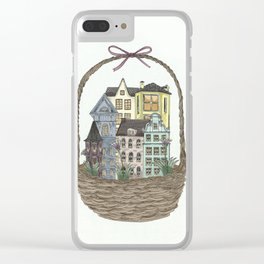 Basket town, city, homes Clear iPhone Case
