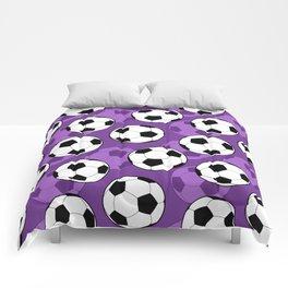 Football Pattern on Purple Background Comforters
