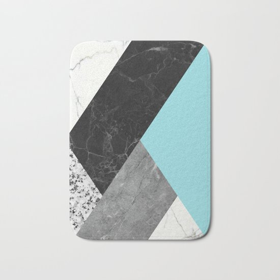 Black and white marbles and pantone island paradise color Bath Mat