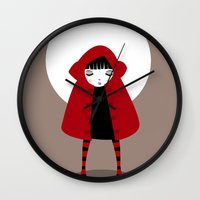 red hood Wall Clocks featuring Little Red Riding Hood by Volkan Dalyan