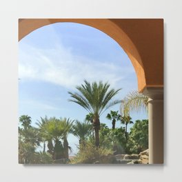 Casablanca Archway In Desert With Palm Trees Metal Print