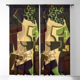 "Juan Gris ""Fruit Dish on a Checkered Tablecloth"" Blackout Curtain"