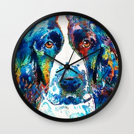 Colorful English Springer Spaniel Dog by Sharon Cummings Wall Clock