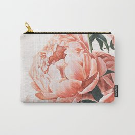 Watercolor Peony Flowers Art Print | Pretty Floral Bouquet | Pink Aesthetic Carry-All Pouch