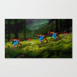 Parrot Sinornithosaurs Canvas Print