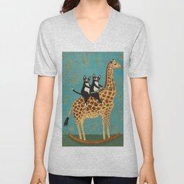 Cats on a Rocking Giraffe Unisex V-Neck