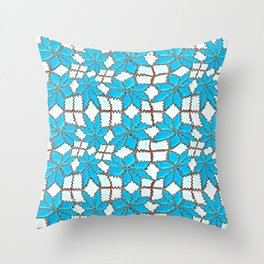 Spanish Tile Design In White And Turquoise Throw Pillow