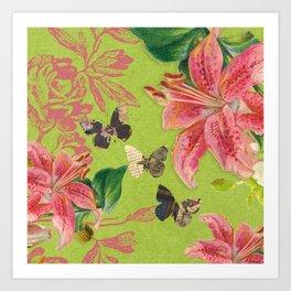 Flowers Butterflies Art Print