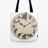 final fantasy Tote Bags featuring FINAL FANTASY CLOCK by DrakenStuff+