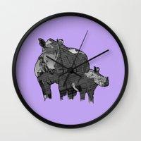 newspaper Wall Clocks featuring Newspaper Rhinoceros by Doolin