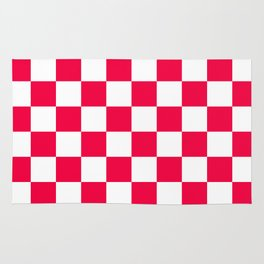 Cheerful Red Checkerboard Pattern Rug