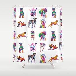 Rainbow Dogs Everywhere Shower Curtain