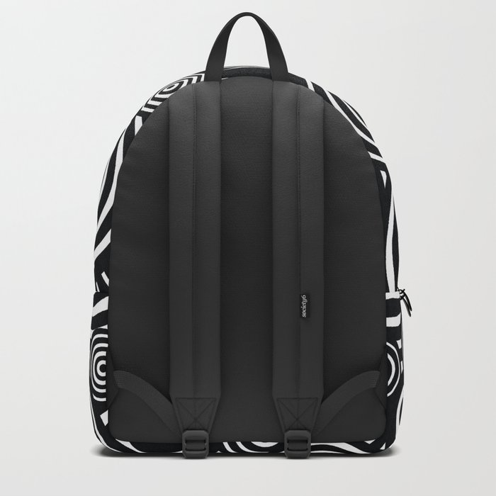 BLACK AND WHITE BULLSEYE ABSTRACT Backpack