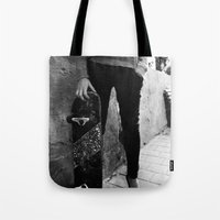 skateboard Tote Bags featuring SkateBoard Girl by amit sakal