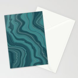 Teal Blue Agate Marble Stationery Cards