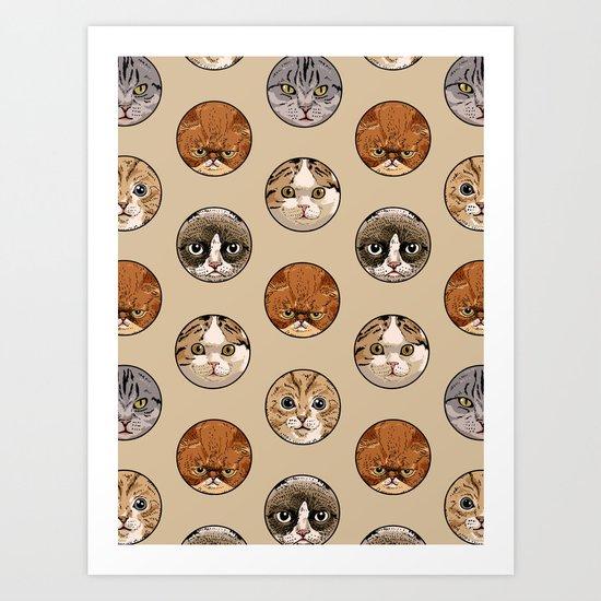 Polka Meaw Art Print