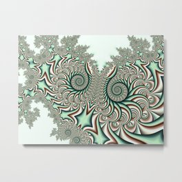 Owl Fractal Chocolate Mint Metal Print
