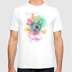 Watercolor Sphynx LARGE White Mens Fitted Tee