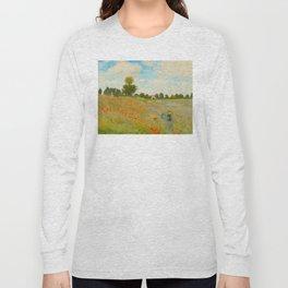 Claude Monet Impressionist Landscape Oil Painting Poppy Field Long Sleeve T-shirt