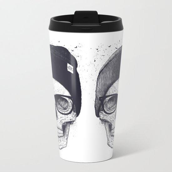 Grey Skull in a hat Metal Travel Mug