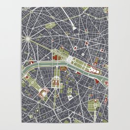 Paris city map engraving Poster