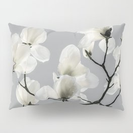 Gray Magnolia and White Pillow Sham