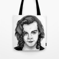 harry styles Tote Bags featuring Harry Styles by farawayniall
