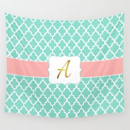 "Mint Moroccan Geometric Quatrefoil Print + Coral Accent and Faux Gold Foil ""A"" Monogram Wall Tapestry"