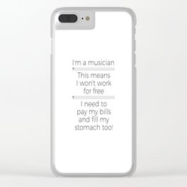 Musicians have to eat too! (bass/light colors) Clear iPhone Case