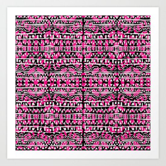Tapestry Pattern Small Scale - Rose Art Print