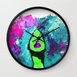 Afro Funk Girl Color Green Pink Wall Clock