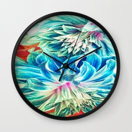 Lightblue Dalias Wall Clock