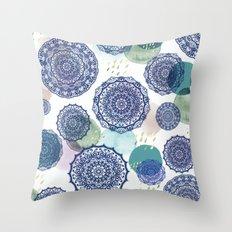 Fall Love Mandala in Blue Throw Pillow