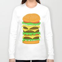 novelty Long Sleeve T-shirts featuring Burger Sandwich by Berberism Lifestyle