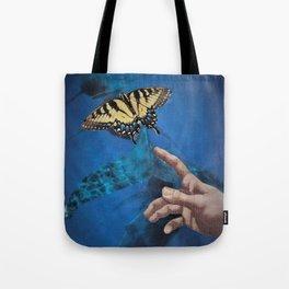 Down Here, We All Float (Underwater Butterfly & Mermaid) Tote Bag