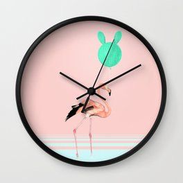 Flamingo and Cactus Balloon Wall Clock