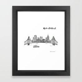 Ink Sketch Pittsburgh Skyline Framed Art Print