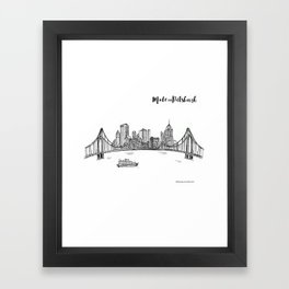 Ink Sketch Pittsburgh Skyline Framed Art Print