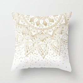 Elegant Gold Mandala Confetti Design Throw Pillow