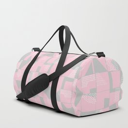 Blush and Gray Typographical Fragments Cheater Quilt Duffle Bag