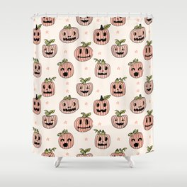 Pumpkin halloween jack-o'-lantern fall autumn carving cute pattern Shower Curtain
