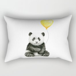 Panda with Yellow Balloon Baby Animal Watercolor Nursery Art Rectangular Pillow